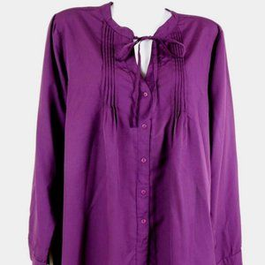 JW Style Womens Tunic Purple Peasant Long Sleeved